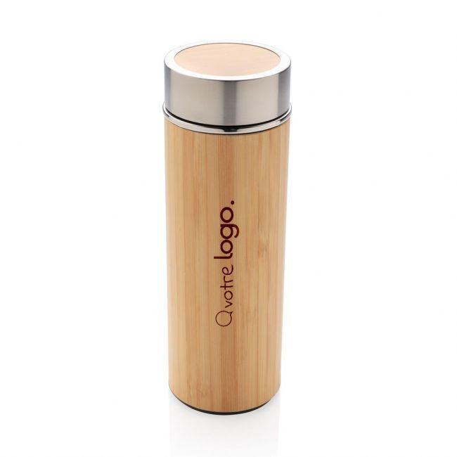 Bouteille isotherme publicitaire en bambou à goulot large