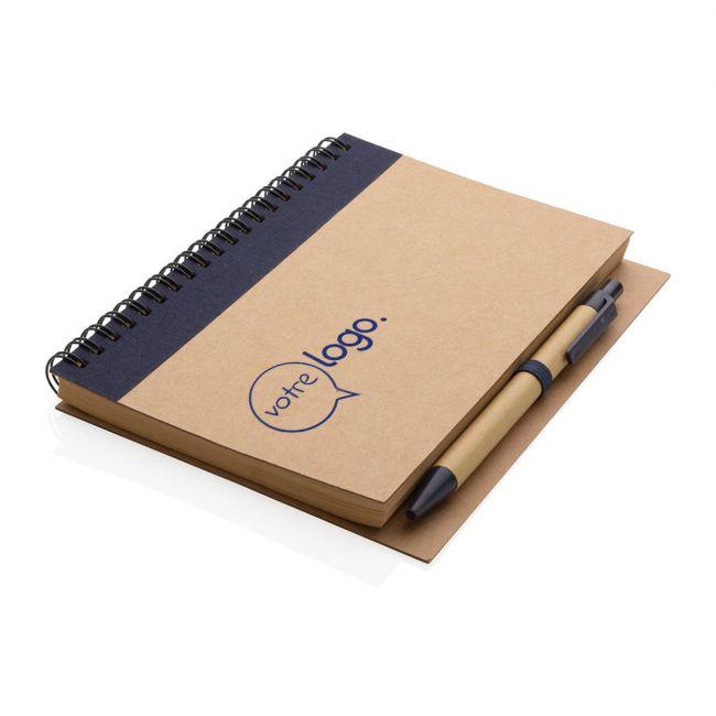 Cahier à spirales publicitaire kraft avec stylo