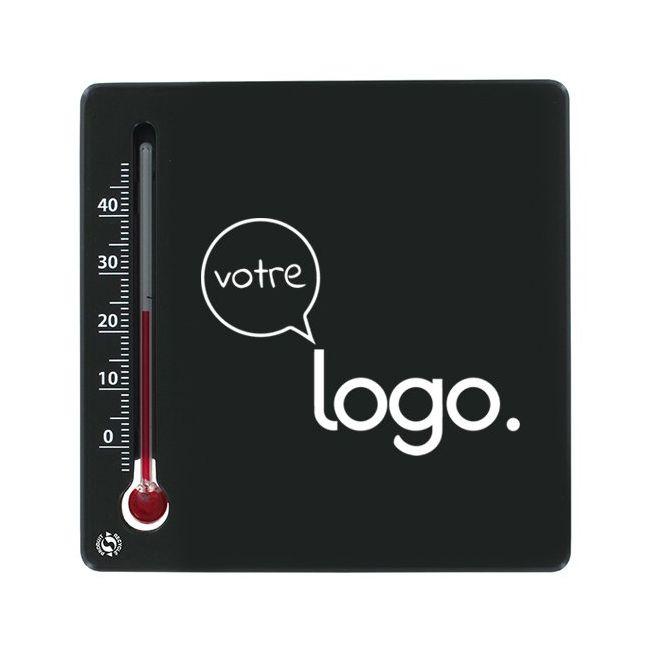 Thermomètre carré publicitaire en matière recyclée